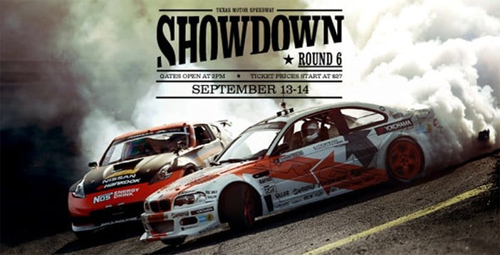 An advertisement for the Showdown at the Texas Motor Speedway on September 13-14