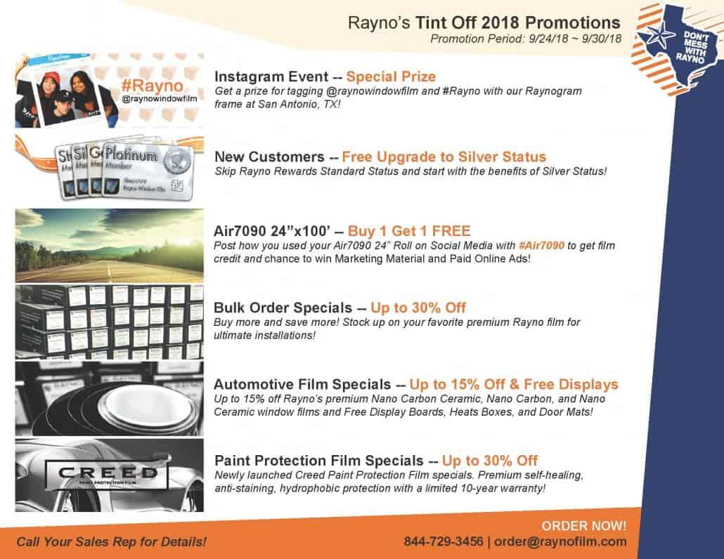 Rayno Tint Off 2018 Promotion Summary